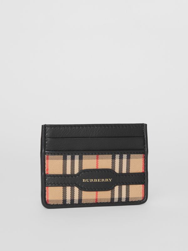 1983 Check and Leather Card Case in Black - Men | Burberry - cell image 3