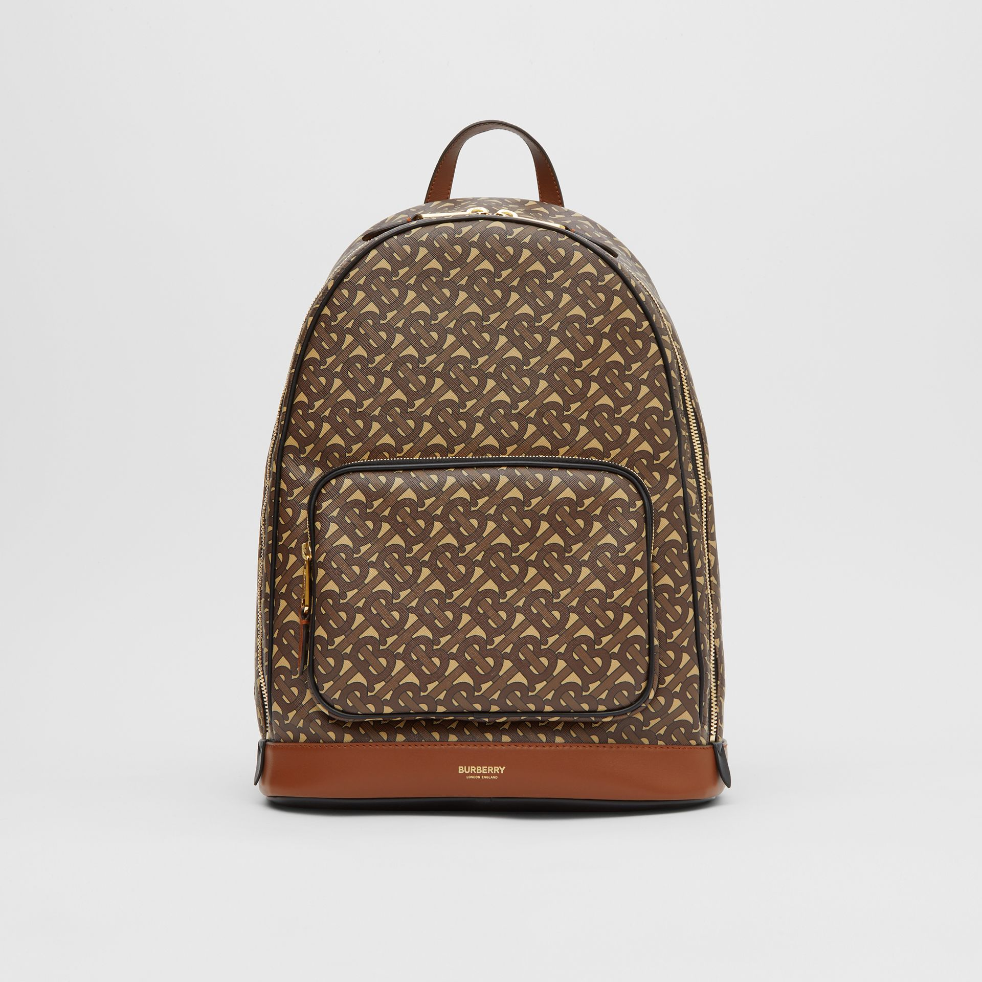 Monogram Print E-canvas and Leather Backpack in Bridle Brown - Men | Burberry - gallery image 0