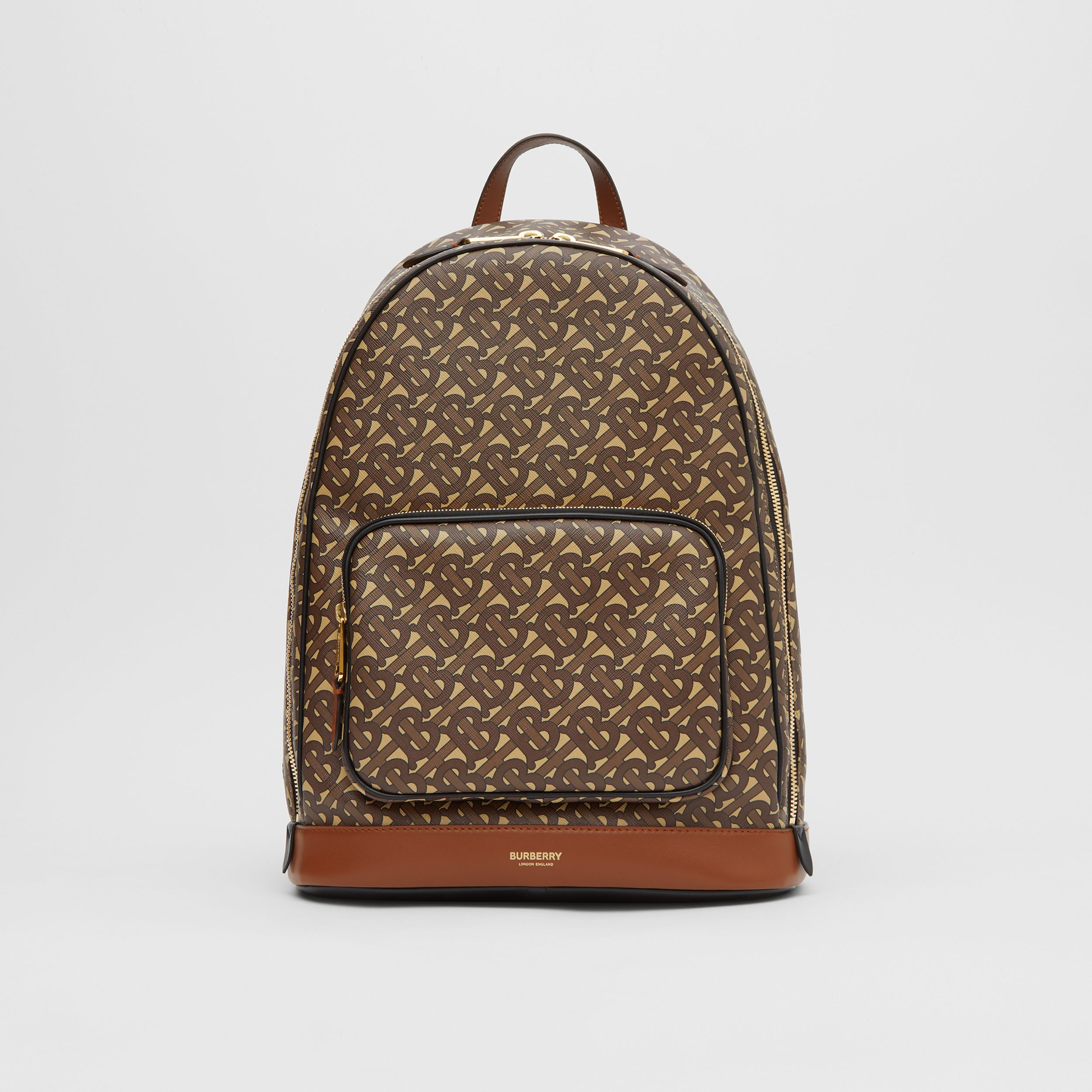 Monogram Print E-canvas and Leather Backpack in Bridle Brown - Men | Burberry - 1