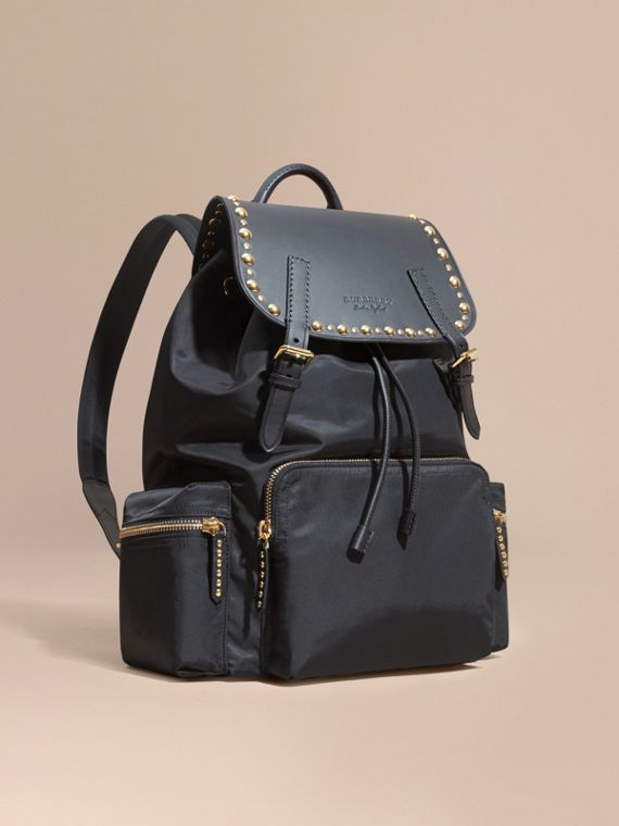 The Large Rucksack in Nylon and Riveted Leather