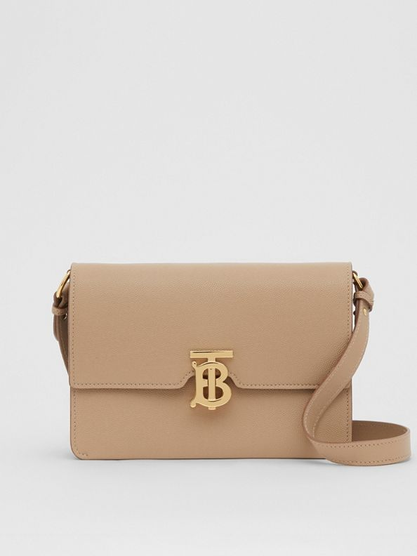 Small Monogram Motif Leather Crossbody Bag in Archive Beige