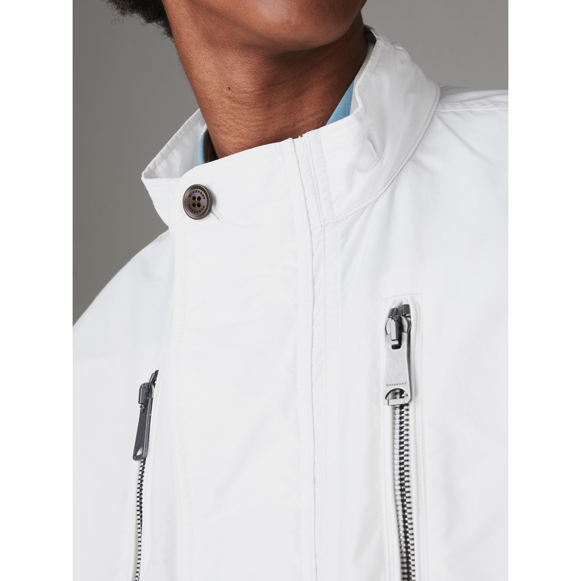 Detachable Hood Faille Jacket in White - Men | Burberry United States - gallery image 4
