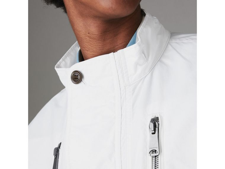 Detachable Hood Faille Jacket in White - Men | Burberry - cell image 4