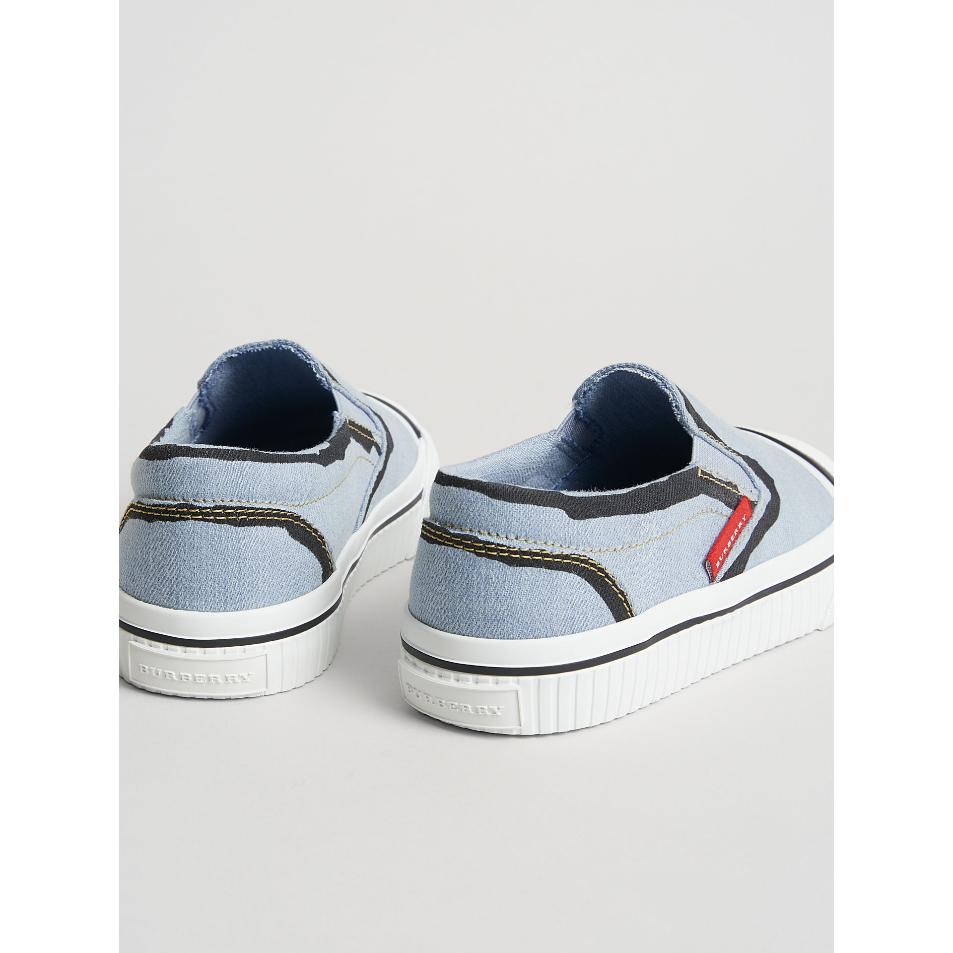 Scribble Print Slip-on Sneakers in Light Blue | Burberry United States - gallery image 2