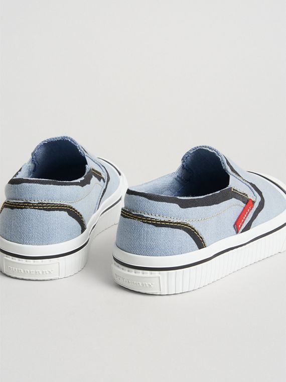 Scribble Print Slip-on Sneakers in Light Blue | Burberry - cell image 2