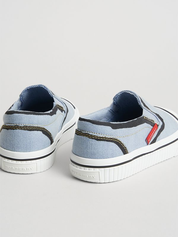 Scribble Print Slip-on Sneakers in Light Blue | Burberry United Kingdom - cell image 2