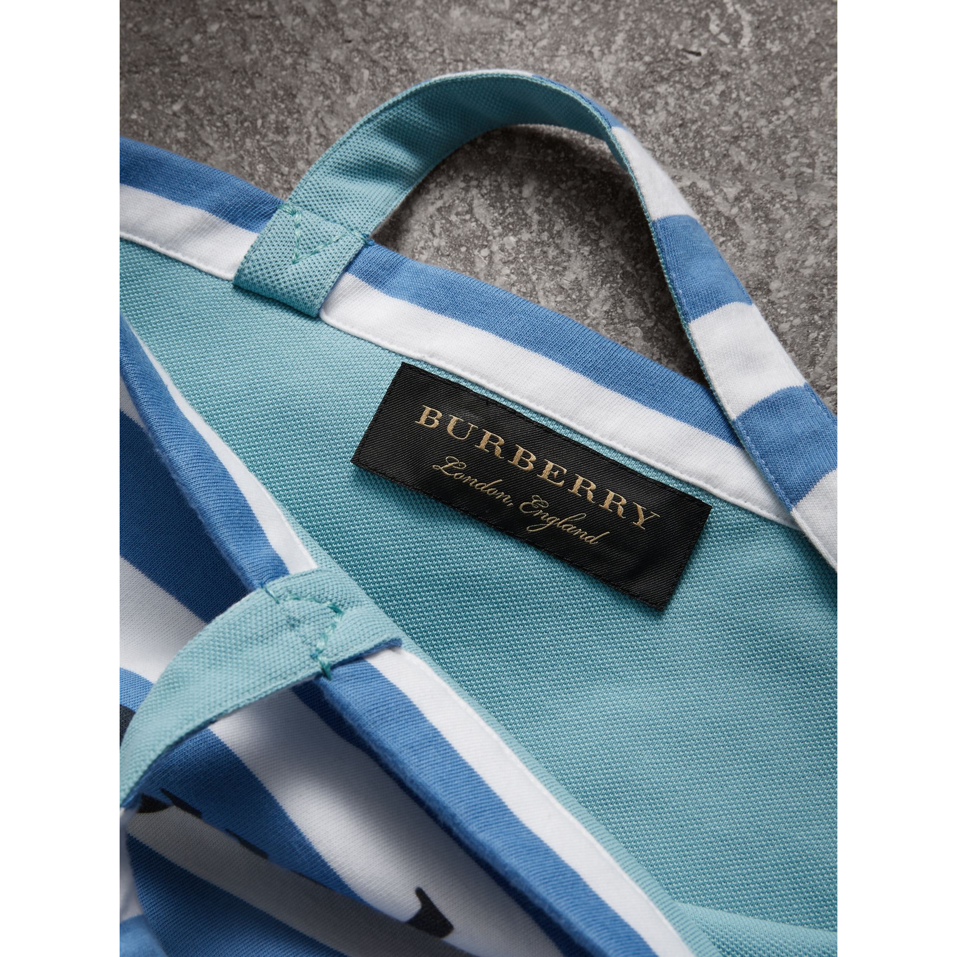 Large Archive Logo Striped Jersey Shopper in Sky Blue/white | Burberry - gallery image 7