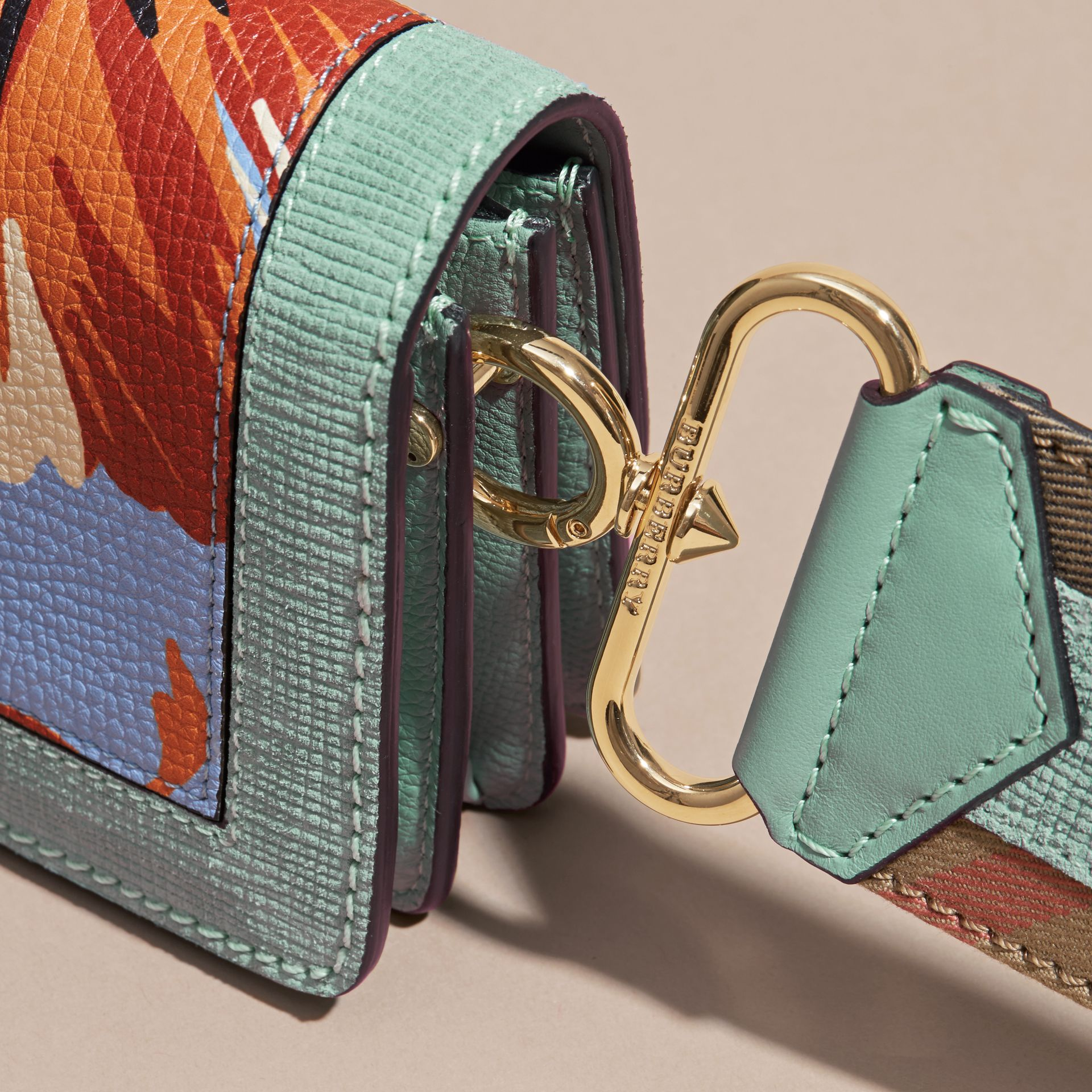 The Small Buckle Bag in Peony Rose Print Leather in Pale Opal/vibrant Orange - gallery image 7