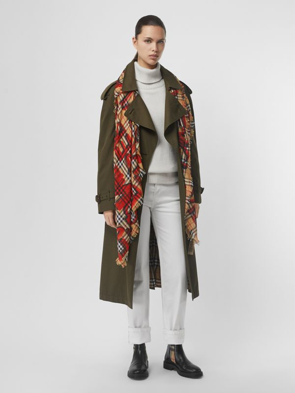 Graffiti Print Check Wool Silk Large Square Scarf in Bright Red | Burberry United Kingdom - cell image 2