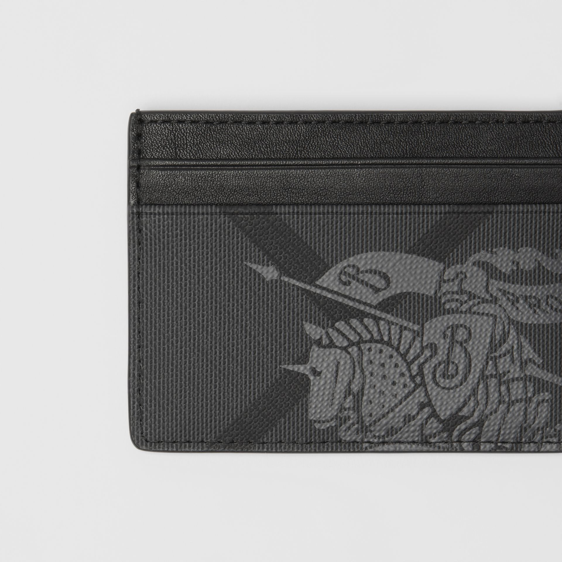 EKD London Check and Leather Card Case in Charcoal/black - Men | Burberry United Kingdom - gallery image 1