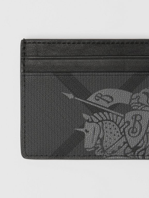 EKD London Check and Leather Card Case in Charcoal/black - Men | Burberry Australia - cell image 1