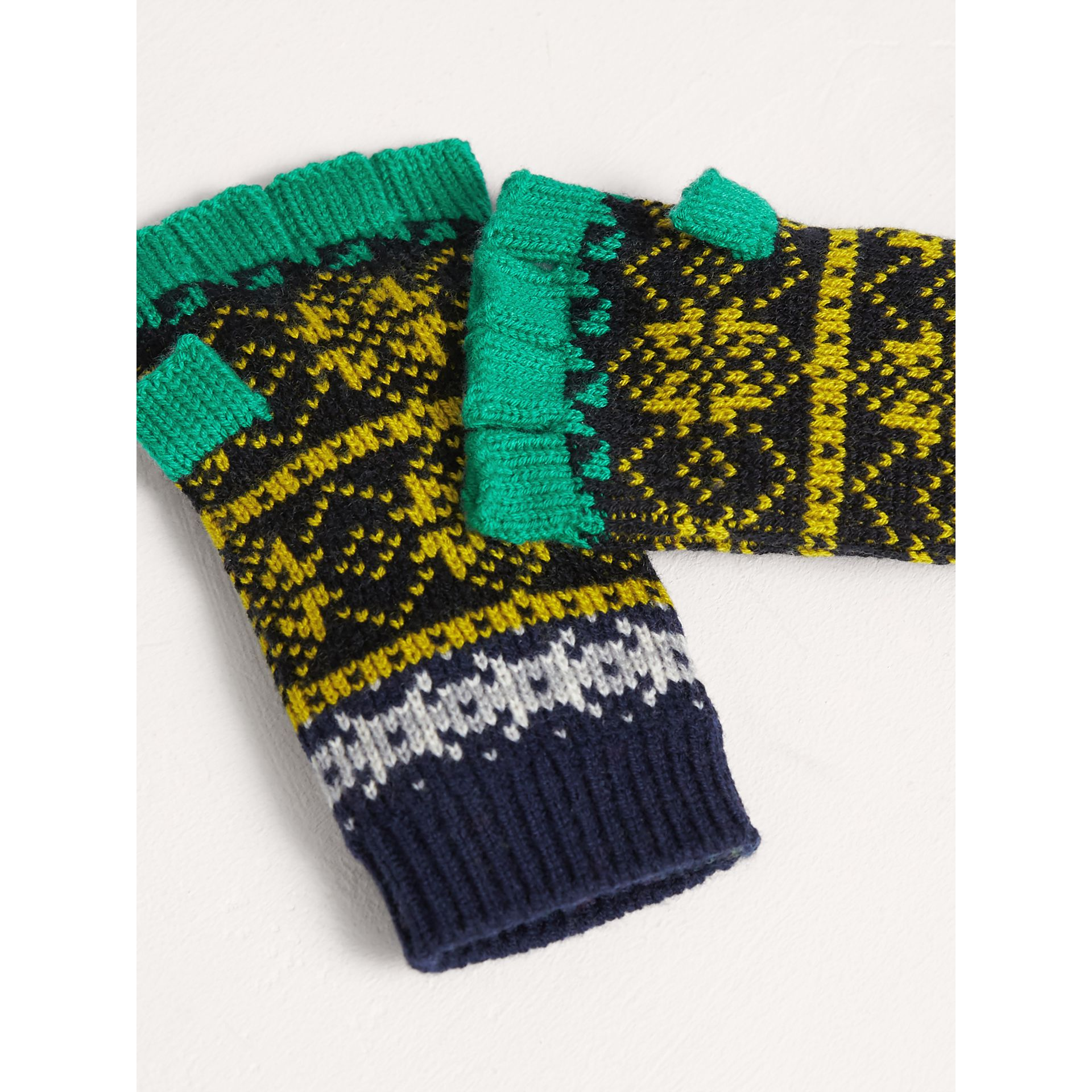 Fair Isle Wool Cashmere Fingerless Gloves in Bright Yellow | Burberry - gallery image 2