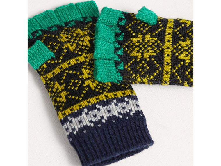 Fair Isle Wool Cashmere Fingerless Gloves in Bright Yellow | Burberry - cell image 2