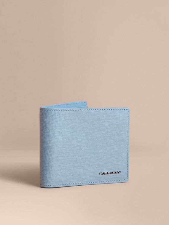 London Leather Slim Folding Wallet Powder Blue