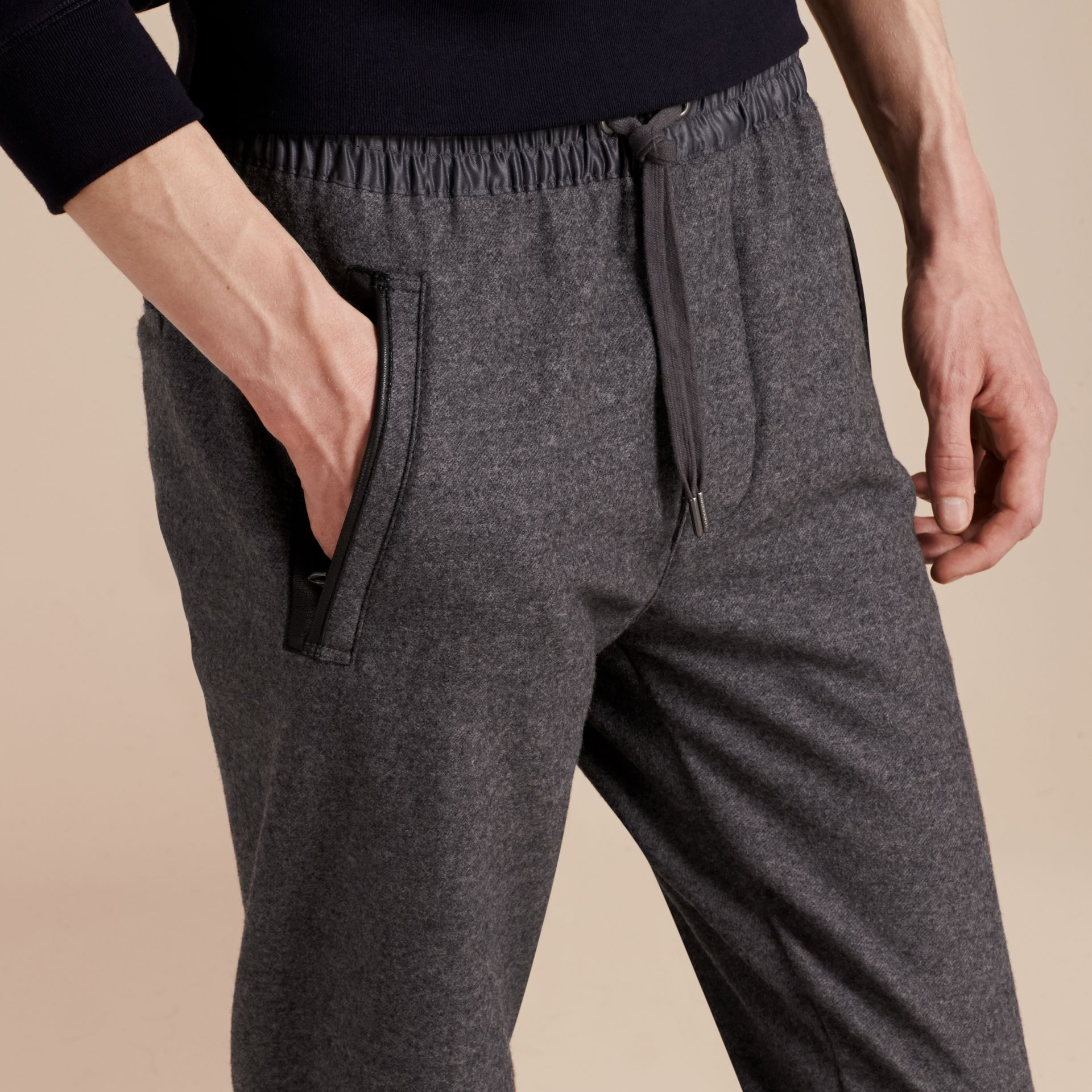 Mid grey melange Leather-trimmed Technical Wool Sweat Pants - gallery image 5