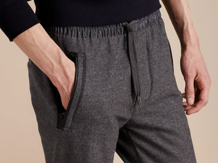 Mid grey melange Leather-trimmed Technical Wool Sweat Pants - cell image 4