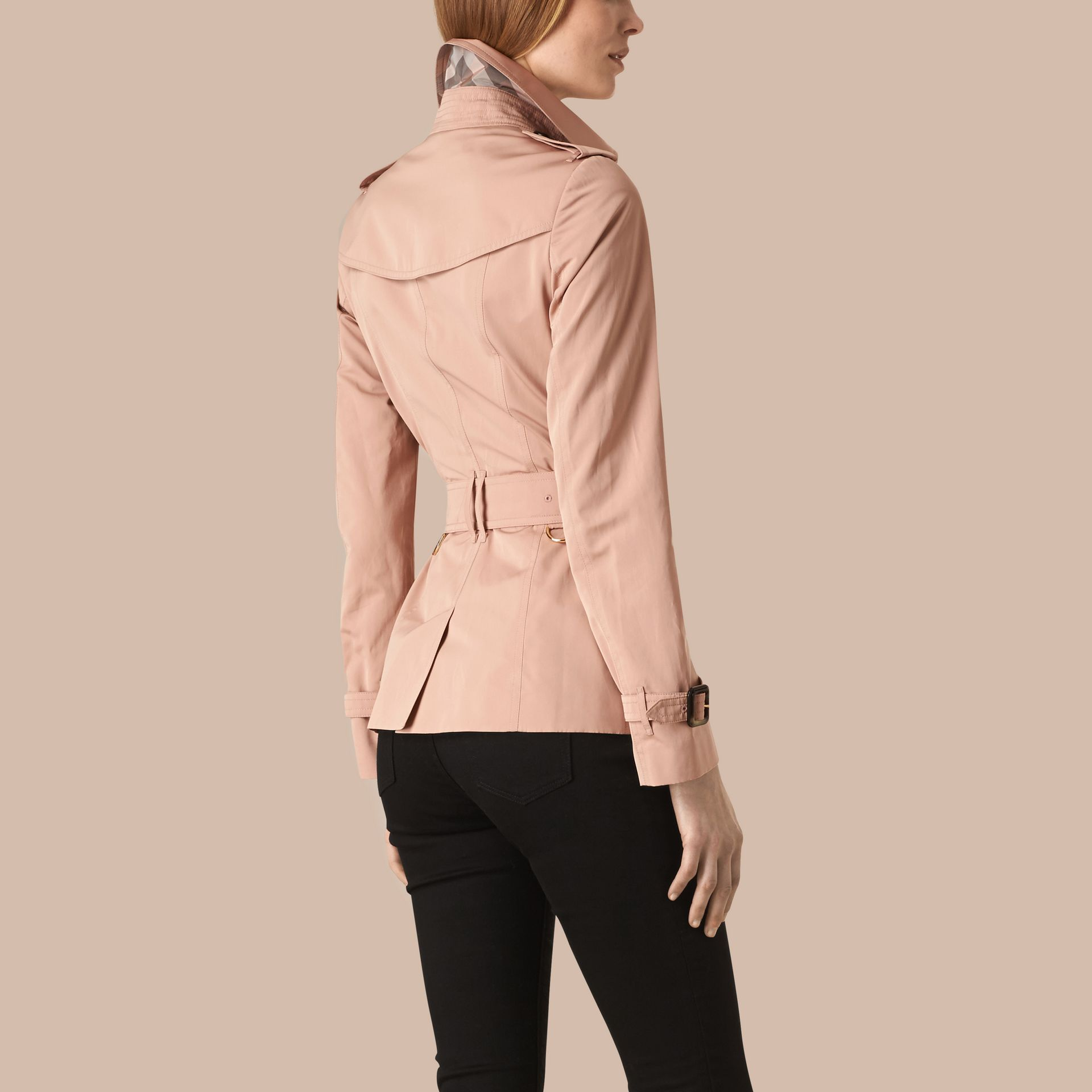 Nude Short Technical Trench Coat - gallery image 2