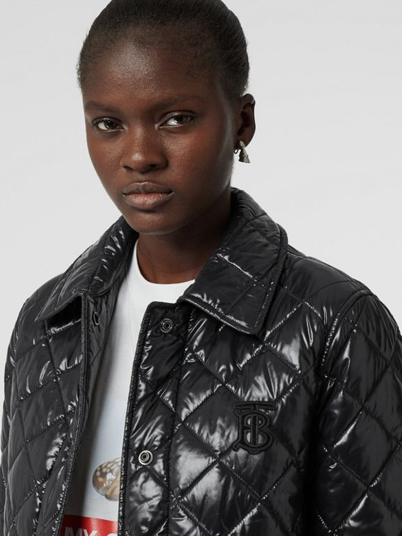 Detachable Hood Monogram Motif Quilted Coat in Black - Women | Burberry United States - cell image 1