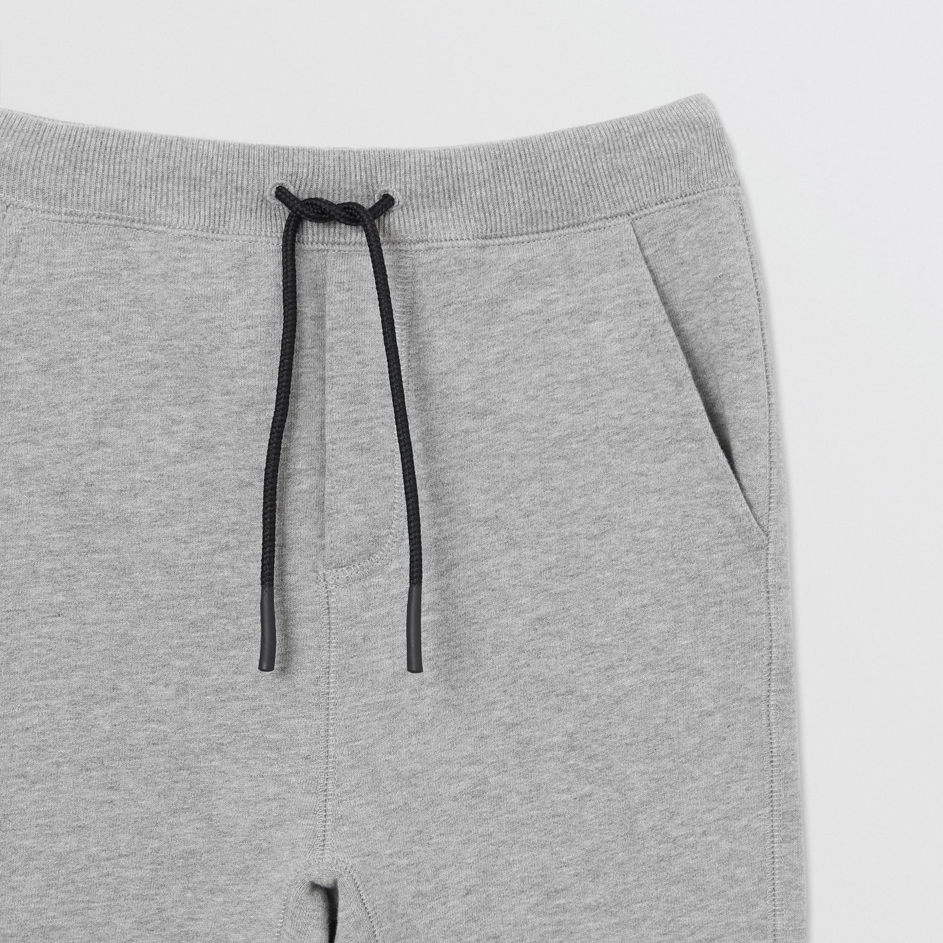 Logo Detail Cotton Trackpants in Grey Melange | Burberry - gallery image 5