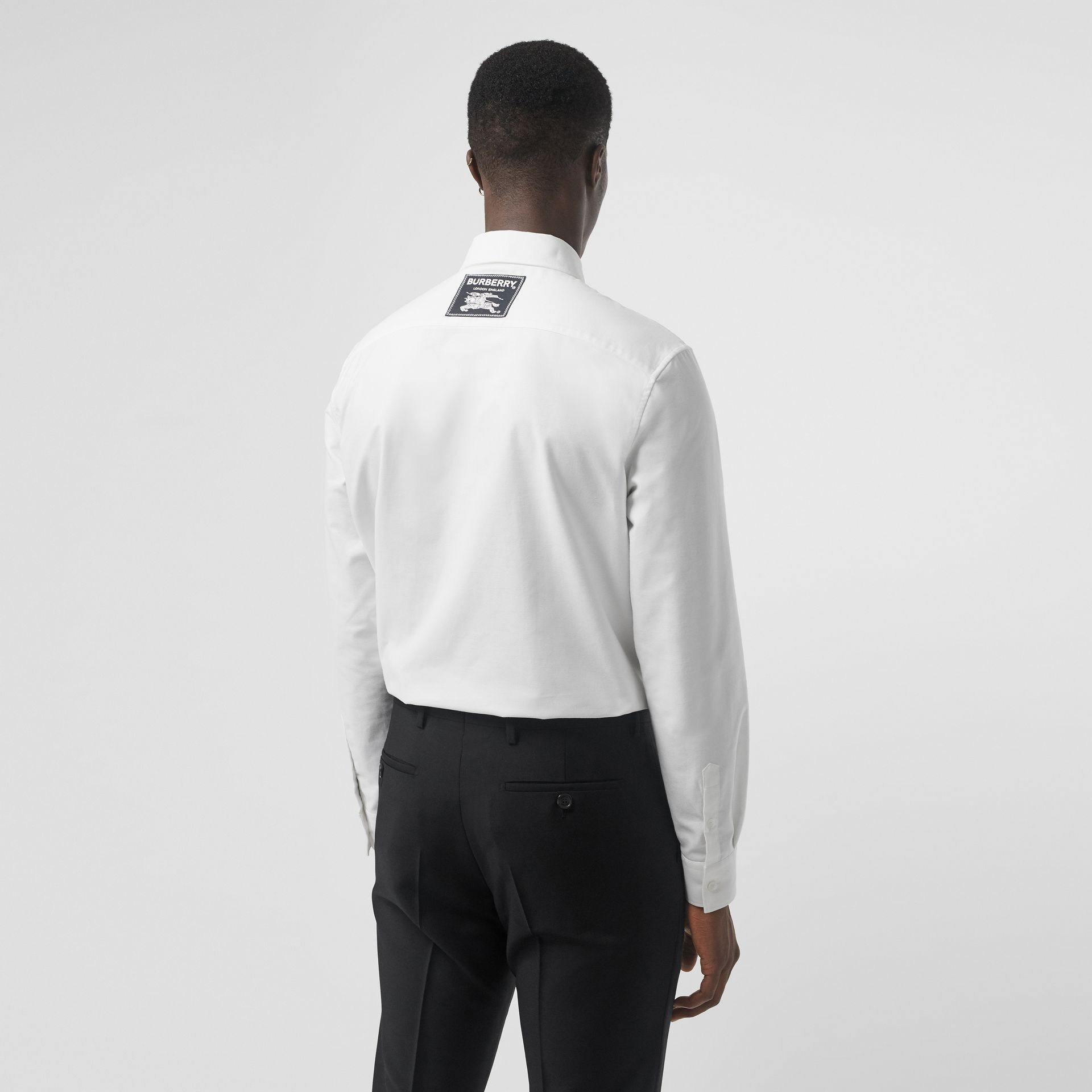 EKD Appliqué Cotton Oxford Shirt in White - Men | Burberry Singapore - gallery image 2