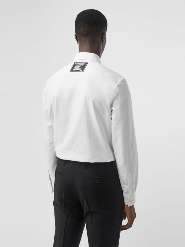 EKD Appliqué Cotton Oxford Shirt in White - Men | Burberry Singapore - cell image 2