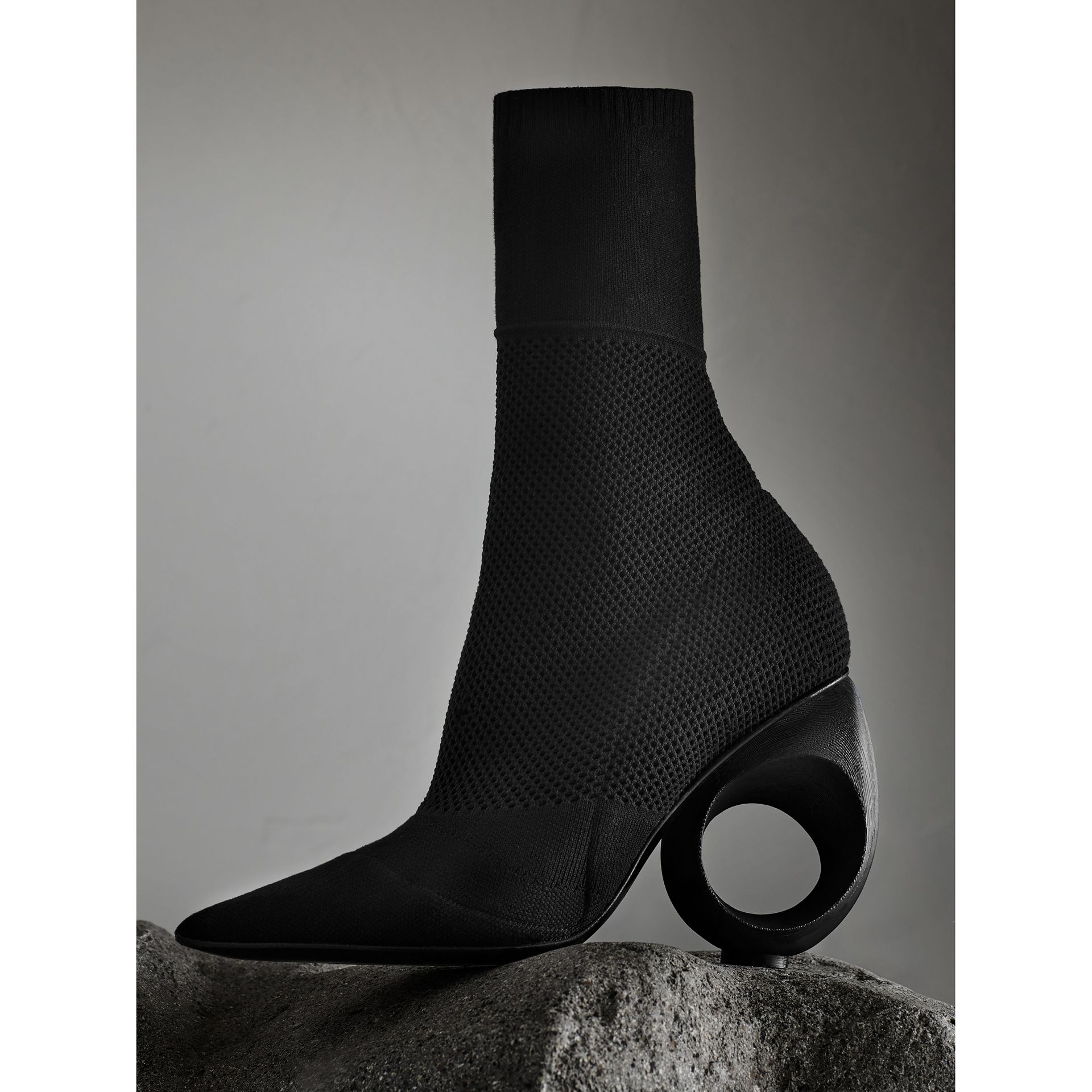 Mid-calf Knitted Boots with Sculpted Heel Black - gallery image 1