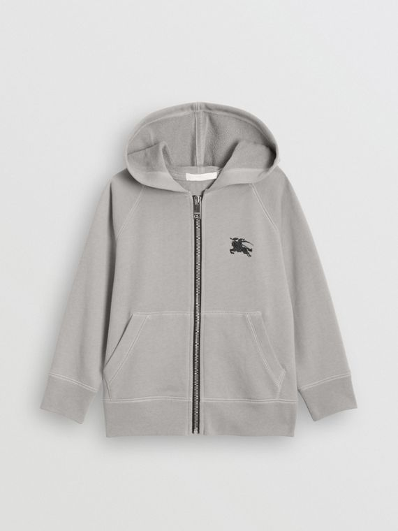 Cotton Jersey Hooded Top in Chalk Grey Melange