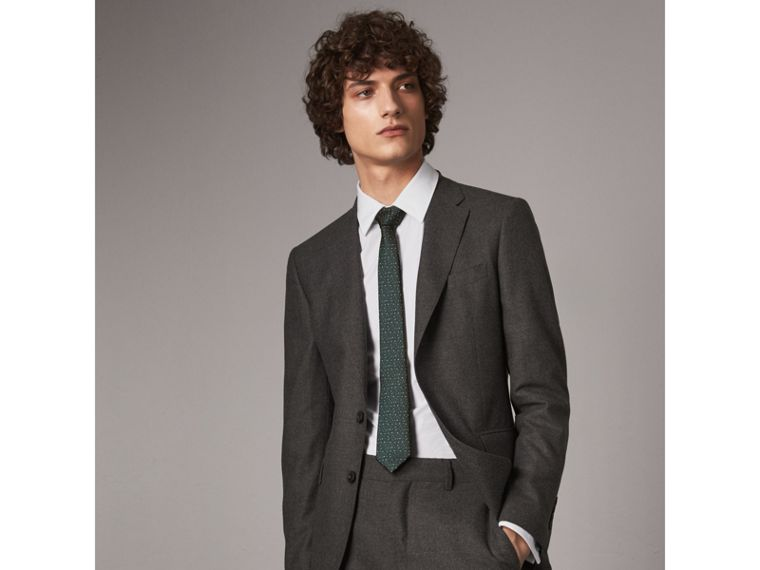 Slim Cut Flecked Silk Tie in Dark Forest Green - Men | Burberry - cell image 2
