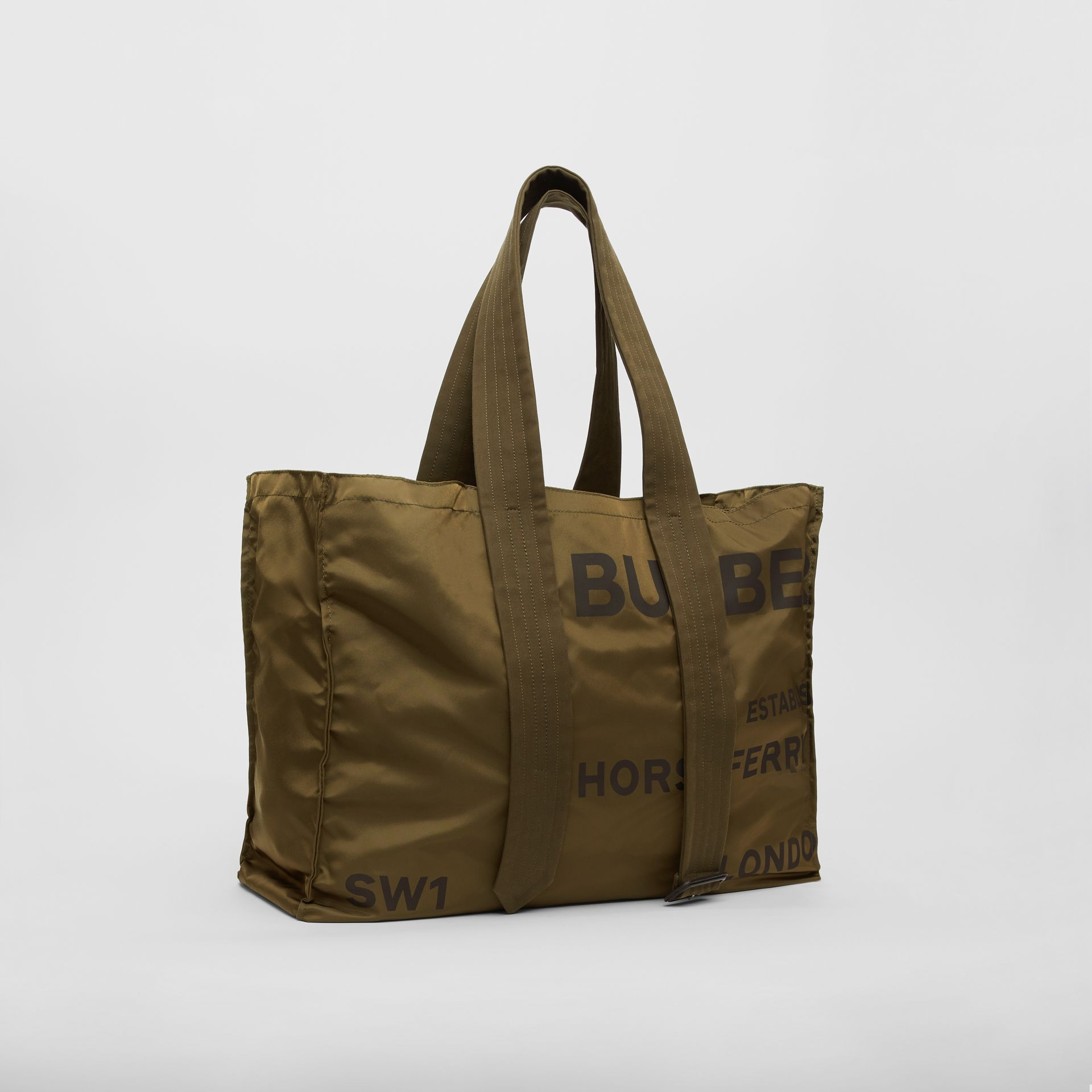 Belt Detail Horseferry Print Nylon Tote in Dark Military Khaki - Men | Burberry United States - gallery image 6