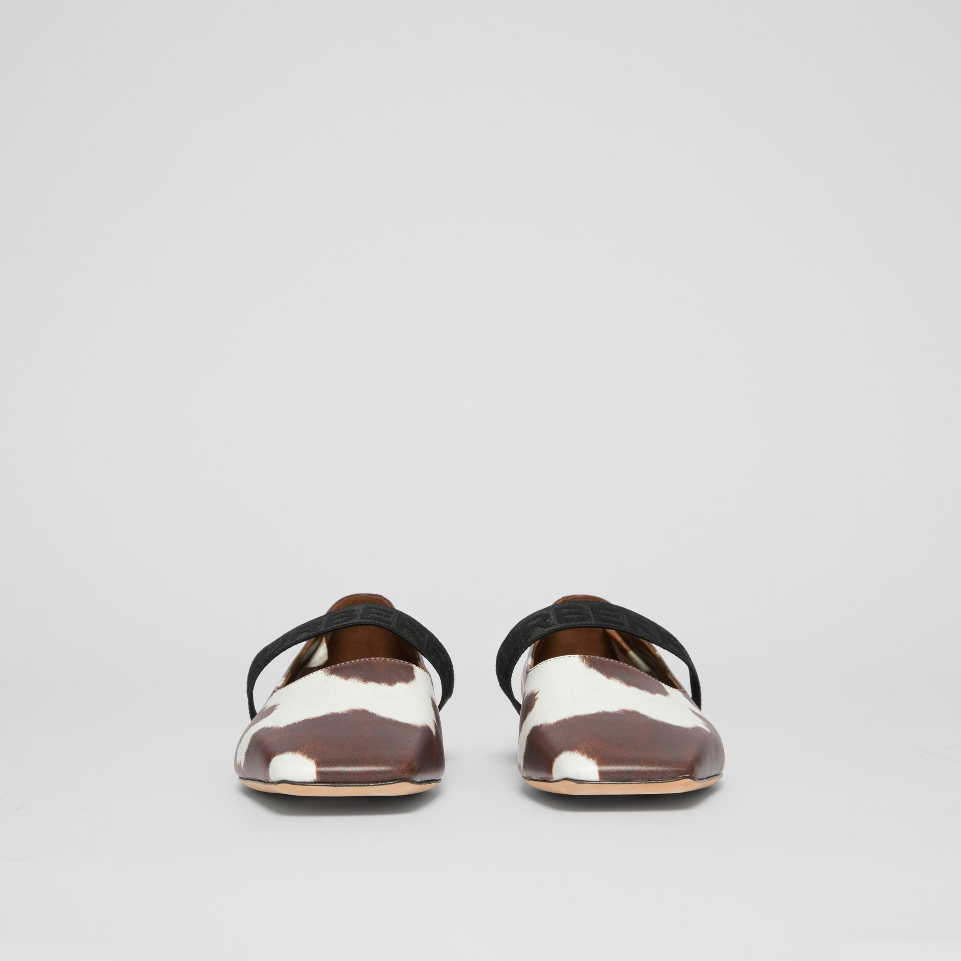 Logo Detail Cow Print Leather Flats - Women | Burberry United States - gallery image 3