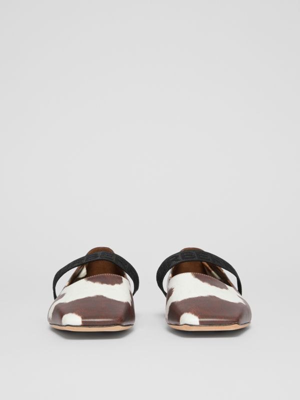 Logo Detail Cow Print Leather Flats - Women | Burberry - cell image 3