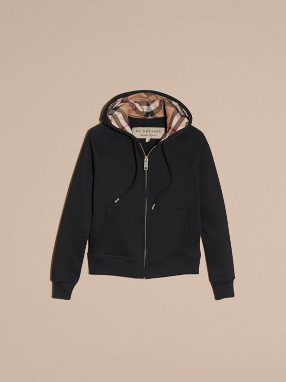 Hooded Zip-front Cotton Blend  Sweatshirt in Black - Women | Burberry Australia - cell image 3