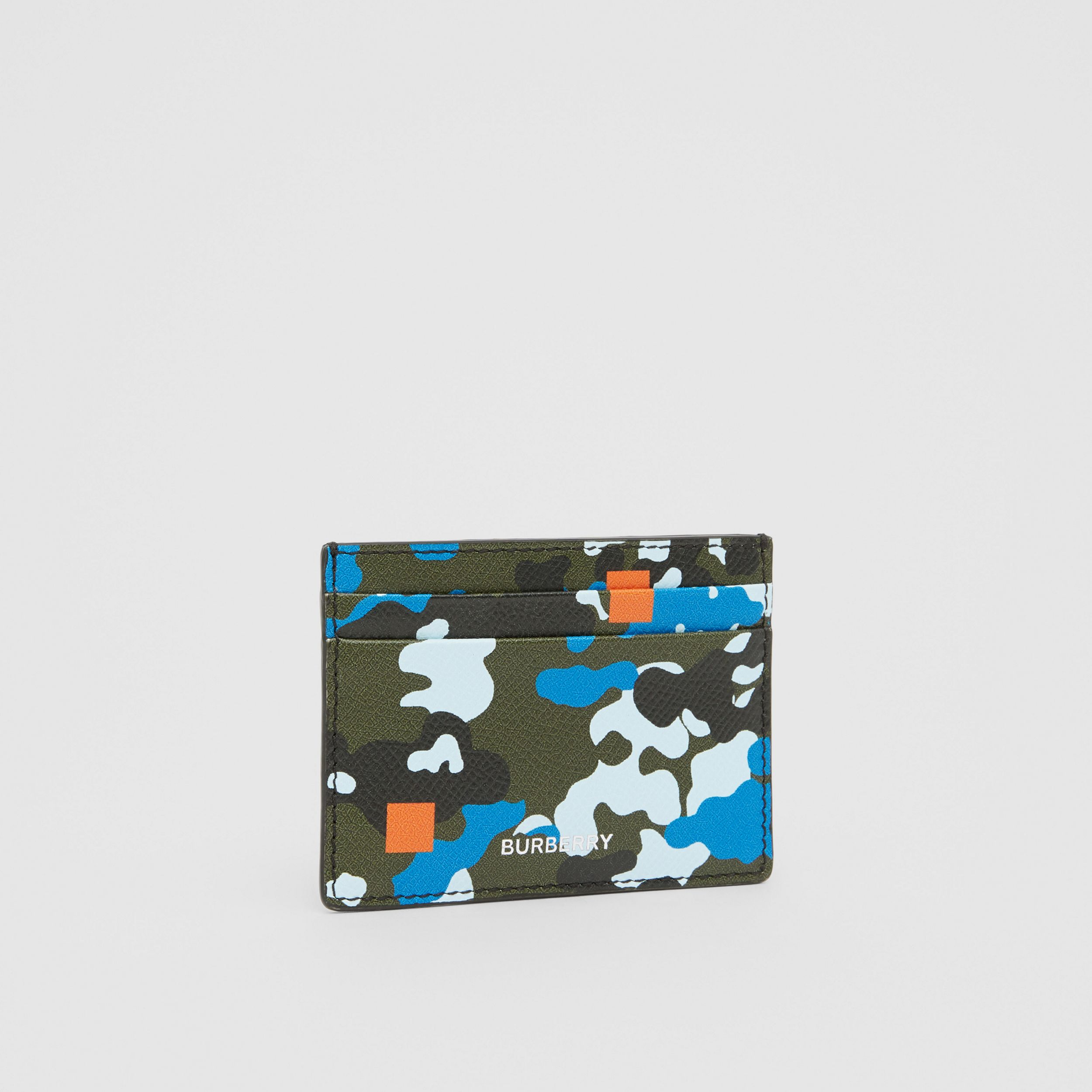 Camouflage Print Grainy Leather Card Case in Blue - Men | Burberry - 4