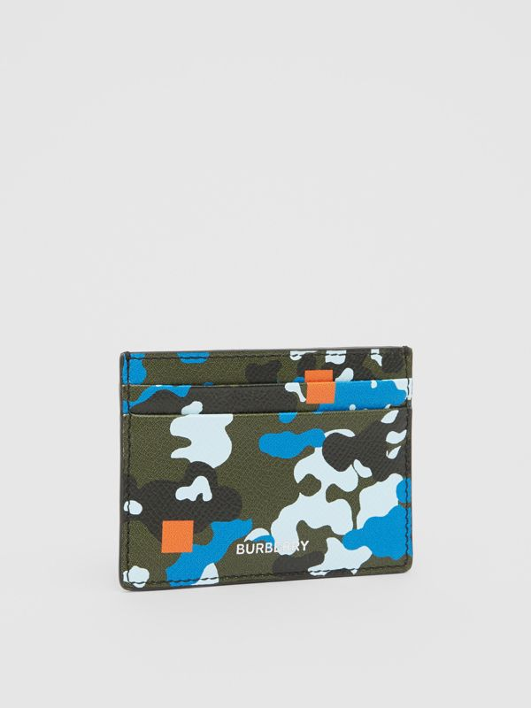 Camouflage Print Grainy Leather Card Case in Blue | Burberry United Kingdom - cell image 3