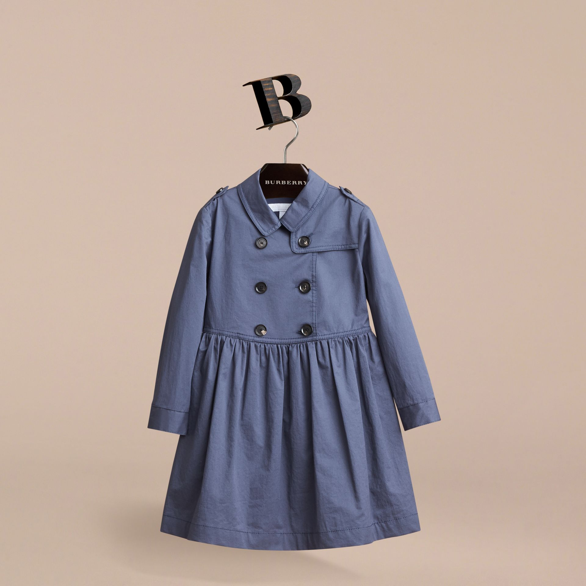 Check Detail Stretch Cotton Trench Dress in Storm Blue - Girl | Burberry - gallery image 3