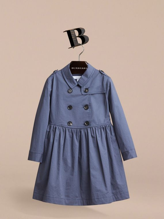 Check Detail Stretch Cotton Trench Dress in Storm Blue - Girl | Burberry - cell image 2