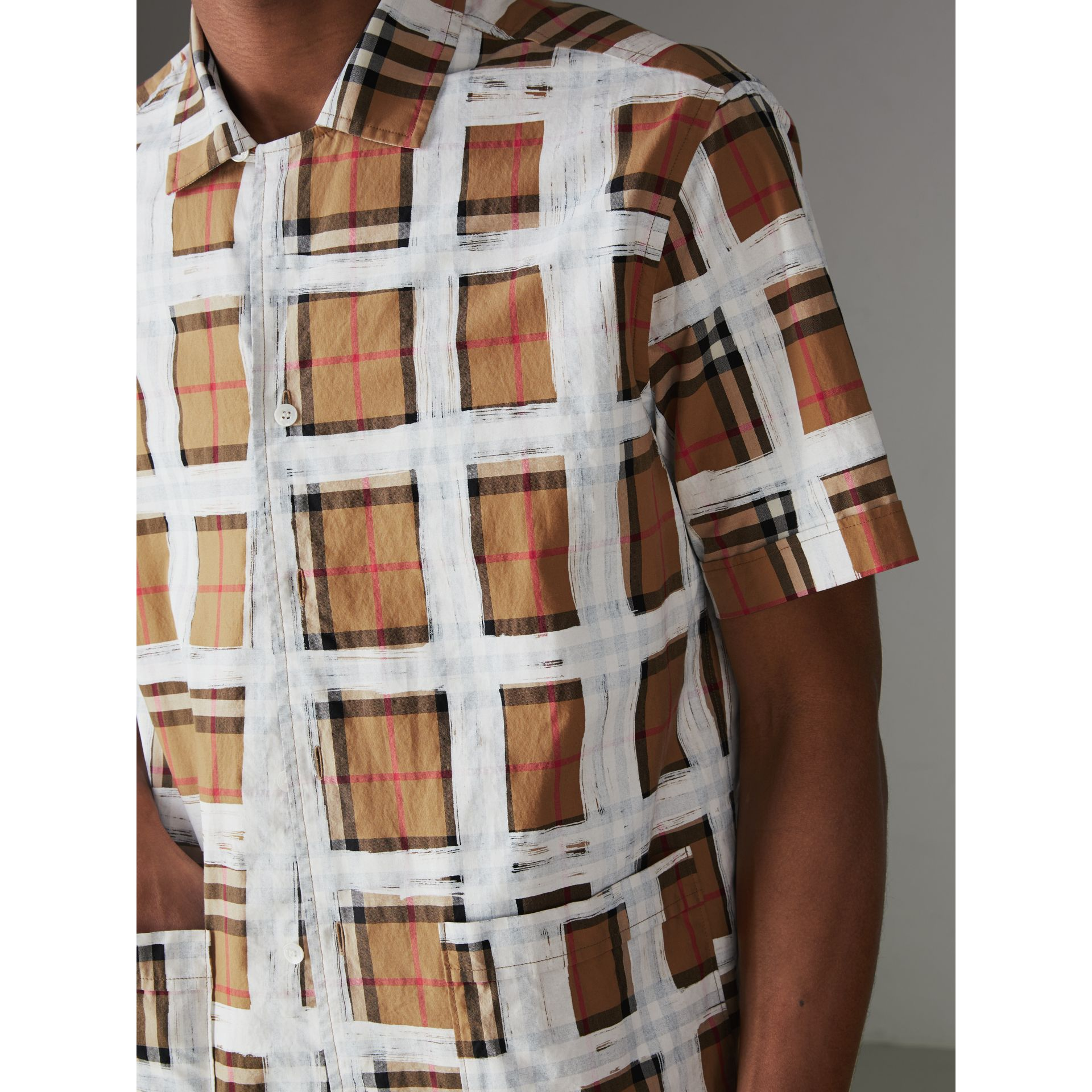Short-sleeve Painted Vintage Check Cotton Shirt in Antique Yellow - Men | Burberry Australia - gallery image 1