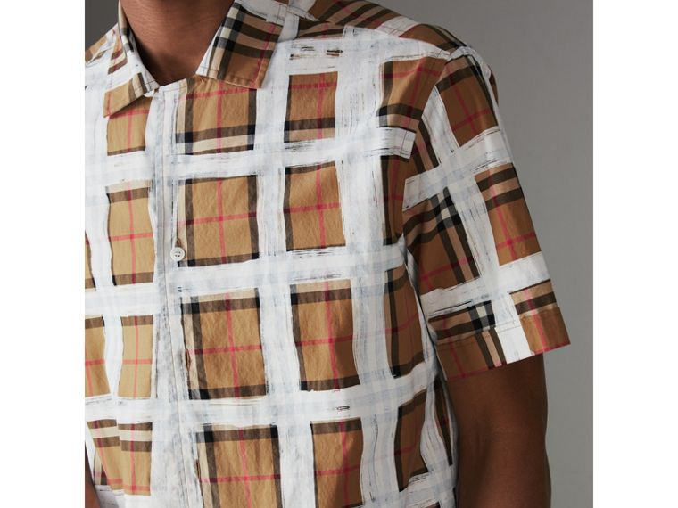 Short-sleeve Painted Vintage Check Cotton Shirt in Antique Yellow - Men | Burberry - cell image 1