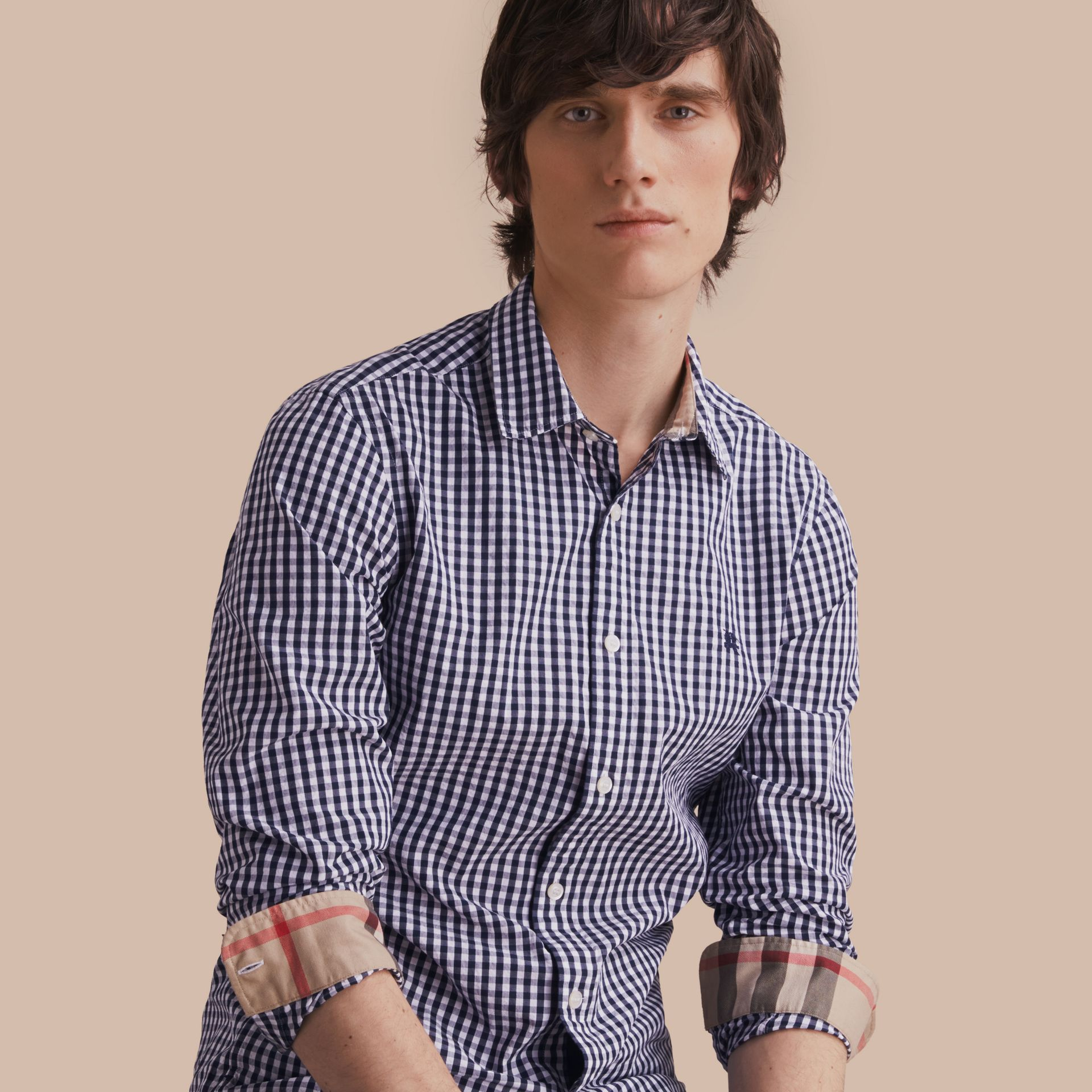 Gingham Cotton Poplin Shirt with Check Detail Ink Blue - gallery image 1
