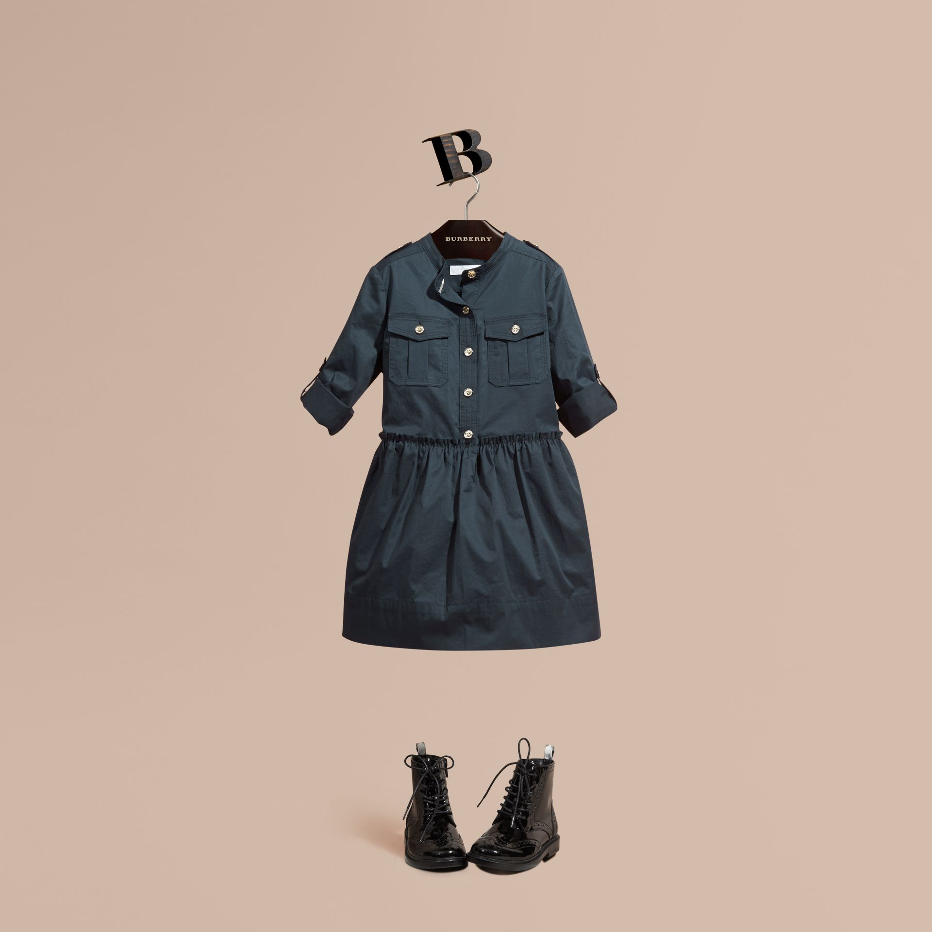 Dark pewter blue Stretch Cotton Military Shirt Dress - gallery image 1