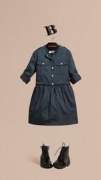 Stretch Cotton Military Shirt Dress