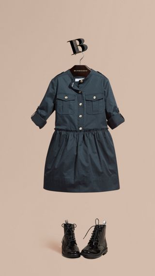 Stretch Cotton Military Shirt Dress