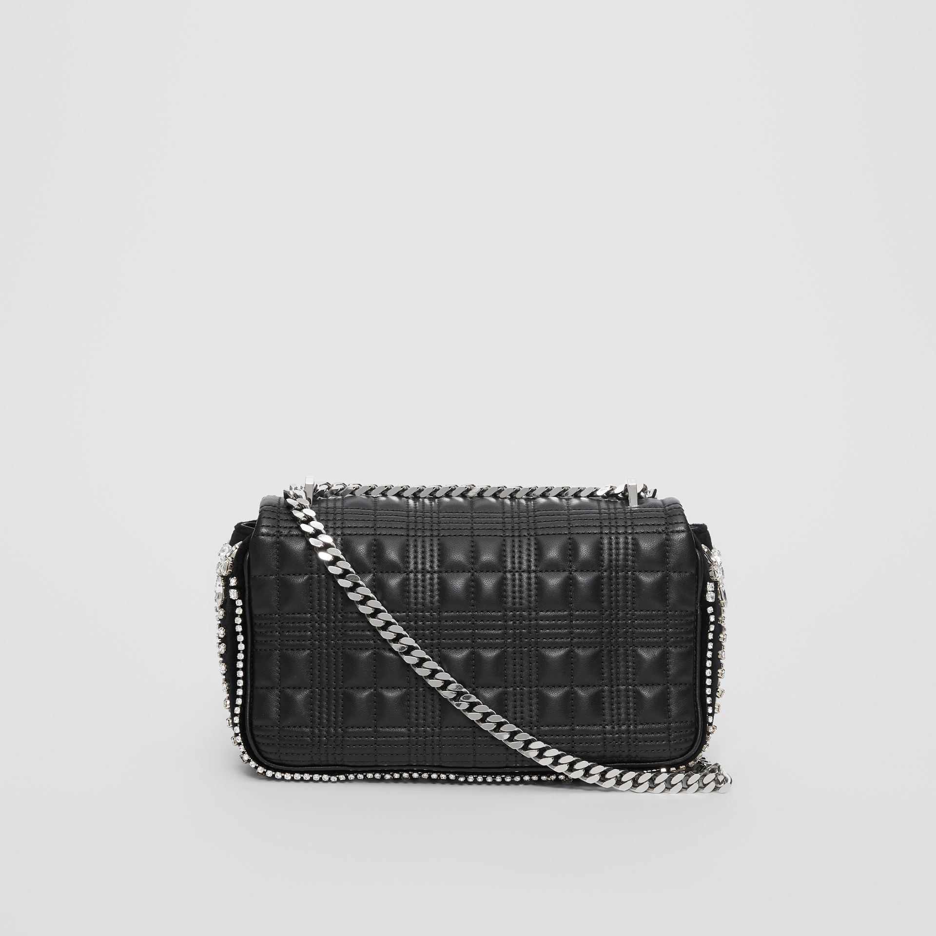 Small Crystal Detail Quilted Check Lambskin Lola Bag in Black - Women | Burberry - gallery image 4