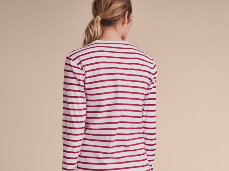 Unisex Pallas Heads Motif Breton Stripe Cotton Top - Women | Burberry - cell image 4