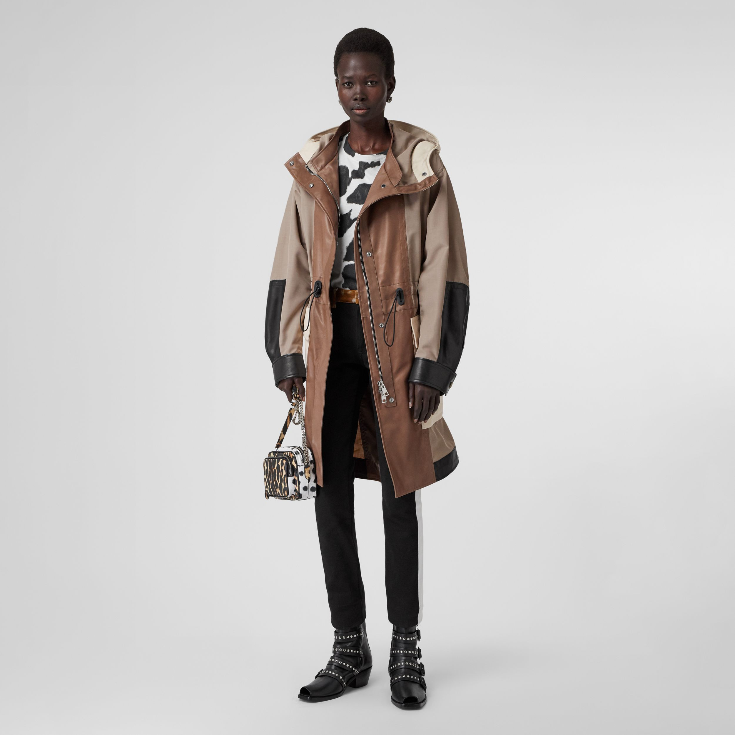 Leather Panelled Nylon Hooded Parka in Warm Taupe | Burberry - 1