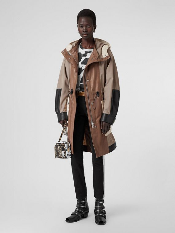 Leather Panelled Nylon Hooded Parka in Warm Taupe