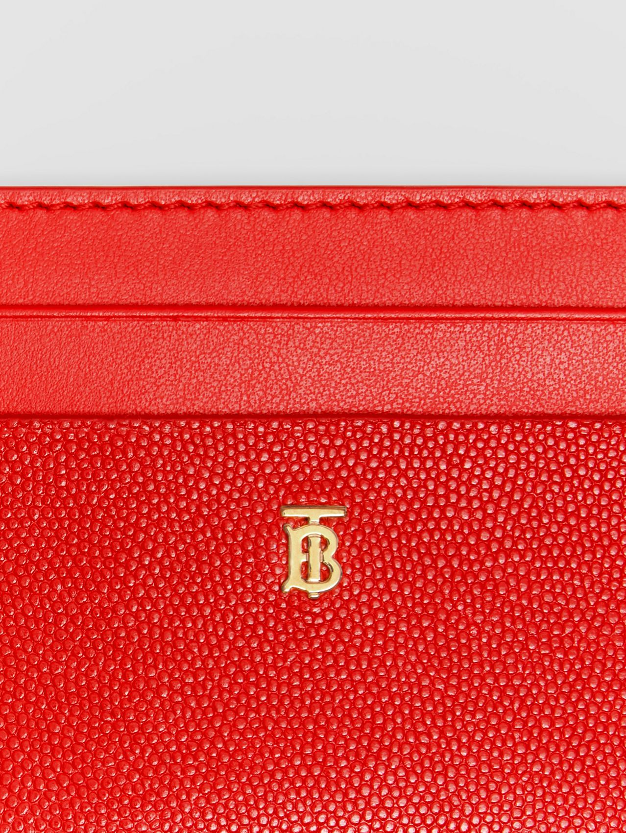 Monogram Motif Leather Card Case in Bright Red