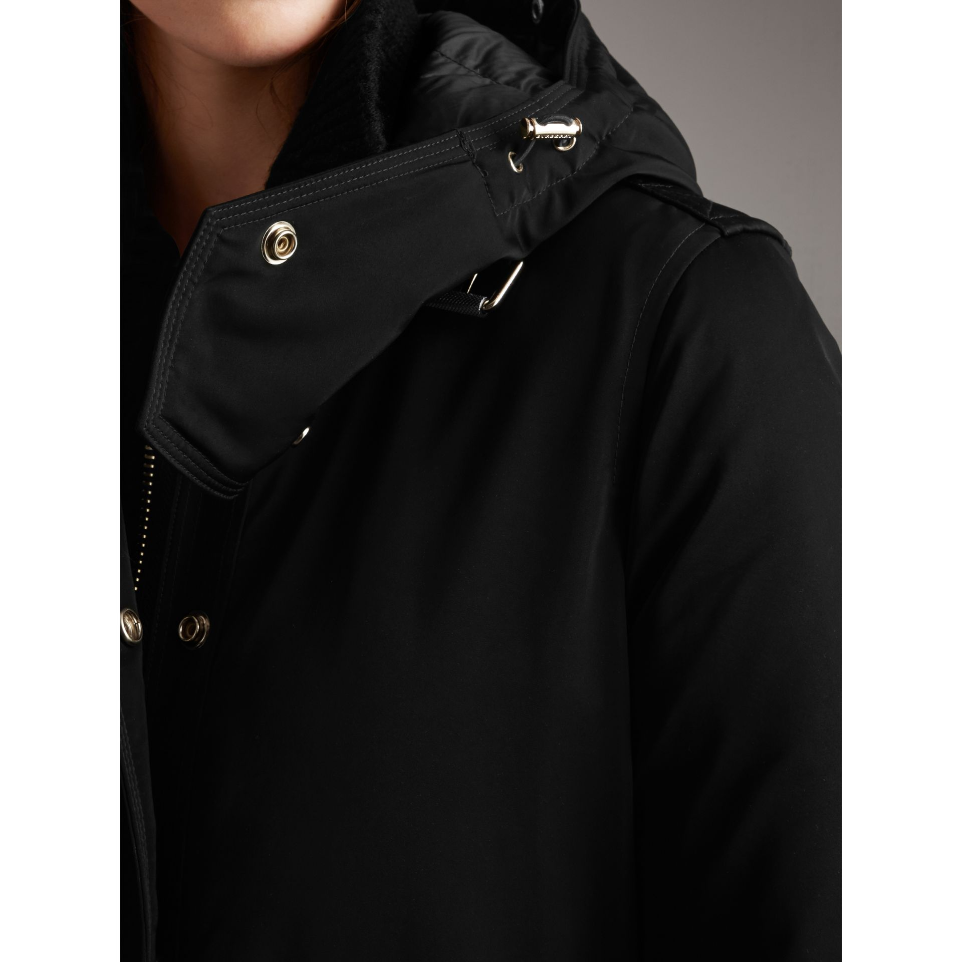 Down-filled Parka Coat with Detachable Fur Trim in Black - Women | Burberry - gallery image 5