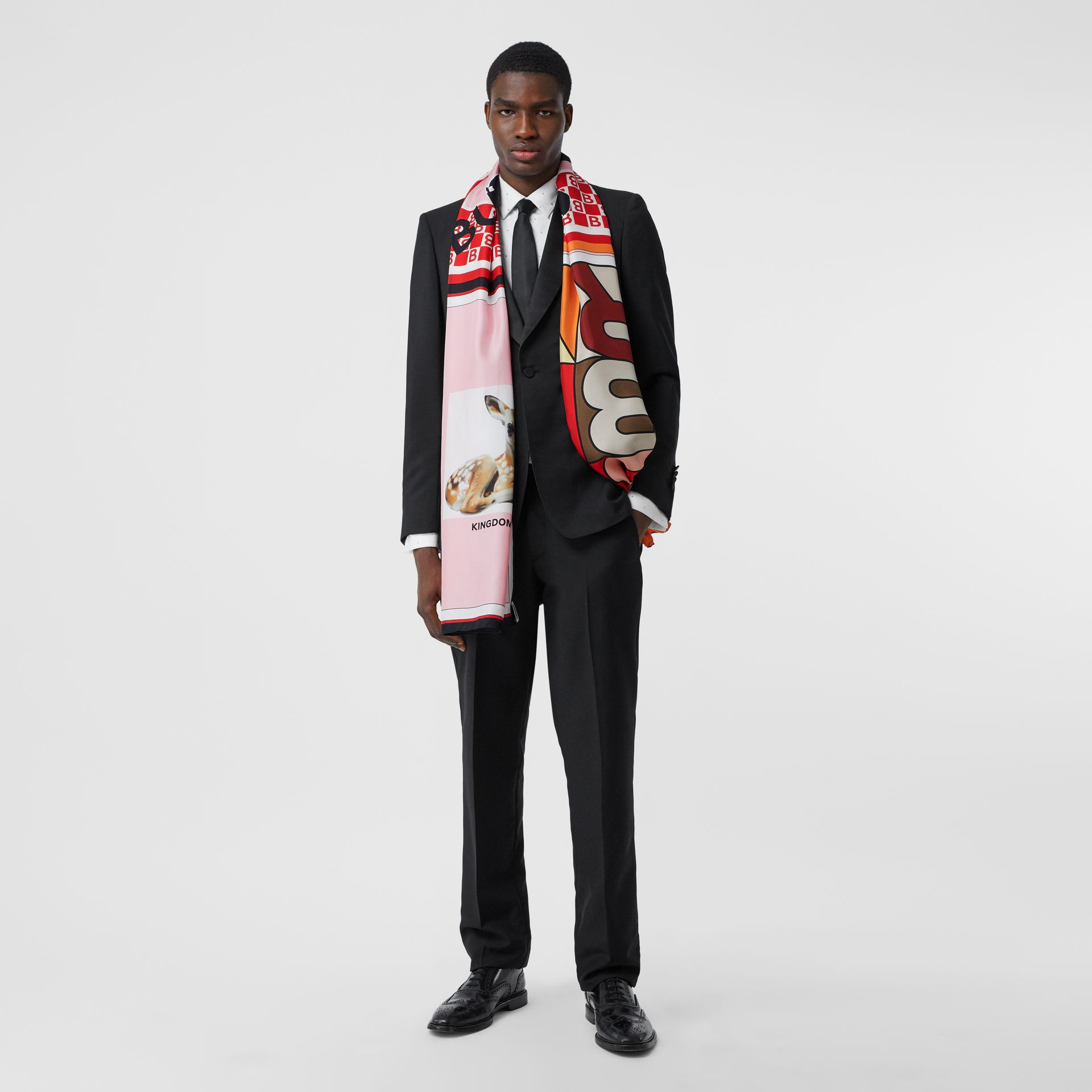 Montage Print Silk Scarf in Candy Pink | Burberry - gallery image 5