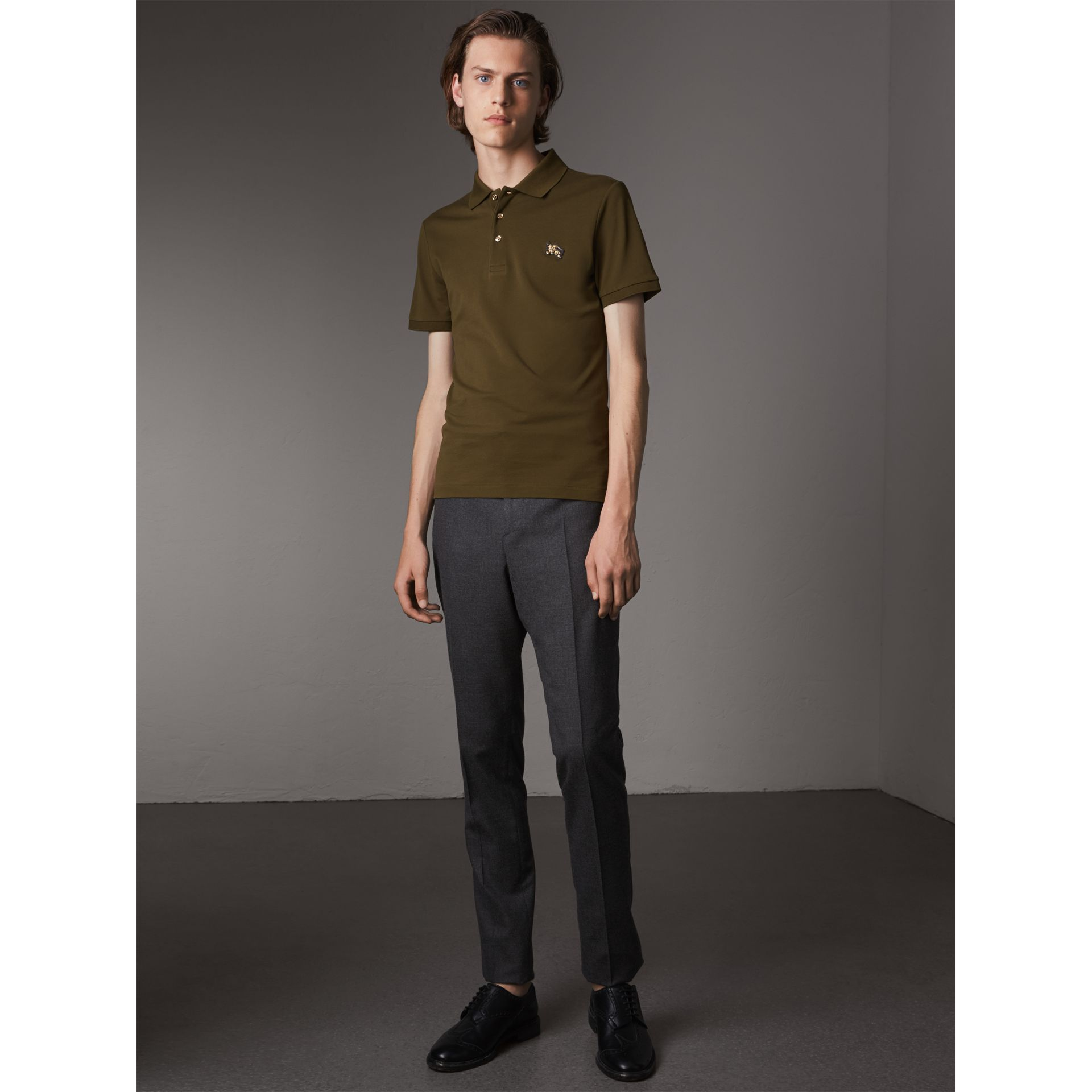 Cotton Piqué Polo Shirt in Dark Olive - Men | Burberry - gallery image 5